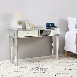 1/2 Drawers Mirrored Shiny Dressing Table Make up Beauty Desk Bedroom Furniture