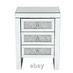 1/2pcs Crystal Mirrored Bedside Table Glass Nightstand Cabinet Bedroom Cabinet