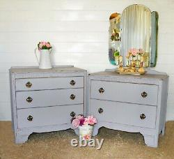 1940's upcycled chest of drawers set with mirror bedroom shabby chic vintage