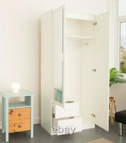 2 Door Wardrobe With Mirror & Drawers Free Delivery, Bedroom Furniture White