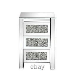 3 Drawers Mirrored Glass Bedside Table Side Cabinet Crystal Handles Bedroom UK