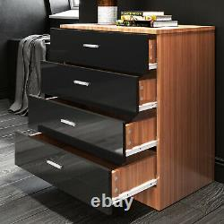 3 Piece Bedroom Furniture Set Wardrobe with Mirror Chest Bedside Cabinet