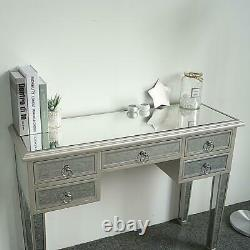5 Drawers Dressing Table Mirrored Vanity Makeup Dresser Glass Bedroom Console