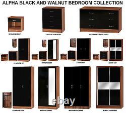 Alpha Black Gloss & Walnut Effect Bedroom Furniture Units and Sets FREE DELIVERY