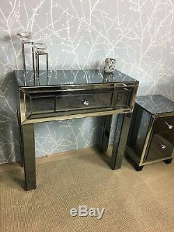 Arctic Noir Smoked Mirrored Glass 1 Drawer Bedroom Dressing Hall Console Table