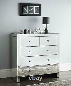 BEDROOM SET Mirrored Chest of 5 Storage Drawers & 2 Mirror Bedside Night Chest