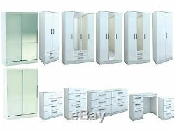Birlea Lynx White Gloss Bedroom Furniture Wardrobe Chest. Large Sizes