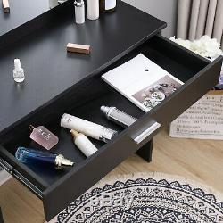 Black Dressing Table Makeup Desk withLED Lighted Mirror&Drawer, Stool Bedroom
