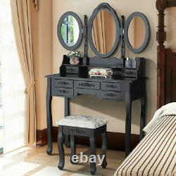 Black Dressing Table Makeup Jewelry Desk with3 Mirror 7 Drawer Stool Bedroom NEW