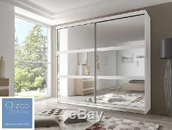 Brand New White Bedroom Sliding Door Wardrobe F10 With 6 Mirrors Choice Of Sizes