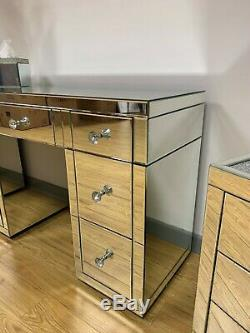 Classic Mirror Silver Mirrored Glass 7 Drawer Bedroom Dressing Vanity Table