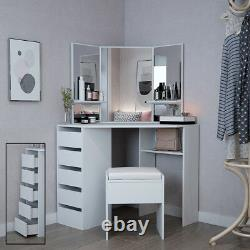Corner Dressing Table In White Makeup Desk With Mirror Stool 5 Drawers Bedroom