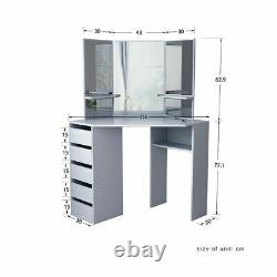 Corner Grey Dressing Table Makeup Desk with 5 Drawers 3 Mirrors & Stool Bedroom