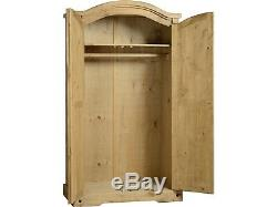 Corona Mexican Pine 4 Piece Bedroom Furniture Set Wardrobe Chest Bedside Pair