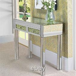 Crystal Mirrored Glass 2Drawers Dressing Table Bedroom Make-up Vanity Table UK