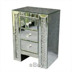Crystal Mirrored Mirror Bedside Bed Side Table Cabinet 3 Drawers Bedroom Cabinet