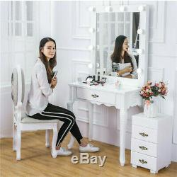 Deluxe Hollywood Dressing Table with LED Lights Vanity Mirror Fr Make Up Bedroom