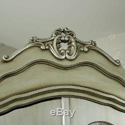 Double mirrored wardrobe painted distressed silver hanging rail bedroom french
