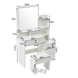 Dressing Table Makeup Desk With LED Light Mirror Stool 4 Draws Bedroom Vanity