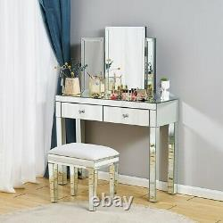Dressing Table Mirrored Vanity Makeup stool Dresser Glass Drawer Bedroom Console