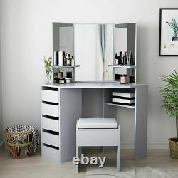 Dressing Table Set With 5 Large Drawers 3 Mirror Makeup Desk Bedroom With Stool UK