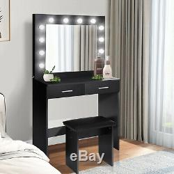 Dressing Table Stool Set with LED Light 2 Large Drawers Mirror Makeup Desk Bedroom