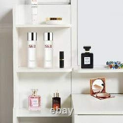 Dressing Table White Wood Makeup Desk with Mirror 5 Drawers Stool Shelf Bedroom