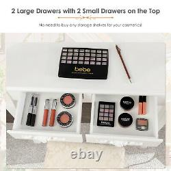 Dressing Table With Light Mirror Makeup Vanity Desk Stool Set Bedroom With2 Drawer