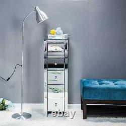 Furniture Glass Crystal Night Table Bedroom Mirrored Bedside Cabinet 5 Drawers