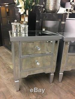 Georgia Bedroom SET Silver Mirrored Chest of Drawers & 2 Bedside Cabinet Table