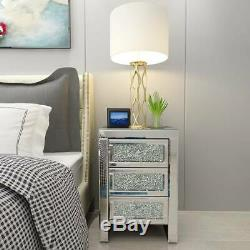 Glass Bedroom Table Mirrored Furniture Chest of Drawer Bedside Cabinet Modern UK