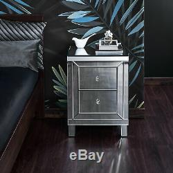 Glass Mirrored Bedroom Furniture-Dressing Table, Stool, Mirrors & Bedside Tables