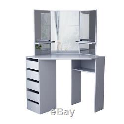 Grey Corner Dressing Table Makeup Desk with5 Drawers & 3 Mirrors & Stool Bedroom