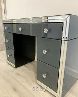 Grey Glass Mirrored Bedroom 7 Drawer Dressing Table