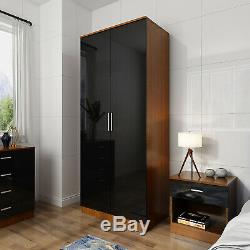 High Gloss 2 Door Wardrobe Mirrored Bedroom Furniture Large Storage 3 Colors