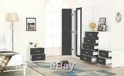 High Gloss 4 Piece Mirrored Bedroom Set Wardrobe Chest 2x Bedside in Grey/White