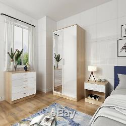 High Gloss Bedroom Furniture Set Wardrobe Drawer Chest Bedside Table in 3 Colors