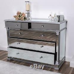 Large Mirrored Silver Chest of Drawers Glass Hallway Cabinet Bedroom Home