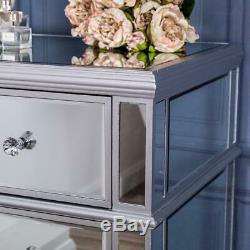 Large Silver Chest of Drawers Mirrored Unit Glass Hallway Cabinet Bedroom Home