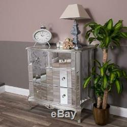 Large Silver Mirrored Chest Bedroom Furniture Venetian Glass Storage Cabinet