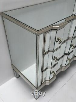 Large Venetian Mirrored Chest Of 3 Drawers Bedroom Furniture Retro Glass Storage