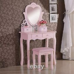 Love Heart Dressing Table With Mirror & Stool White Pink Vanity Dresser Bedroom