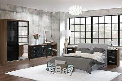 Lynx High Gloss Black and Walnut 3 door 2 drawer bedroom wardrobe new