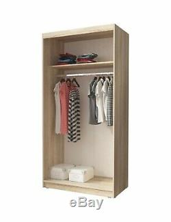 MINI SLIDING DOORS BEDROOM SMALL MIRRORED WARDROBE WHITE LIGHT OAK BROWN W100cm