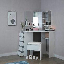 Makeup Desk Jewelry Dressing Table Vanity 3 Mirror 5Drawer Stool Bedroom Dresser