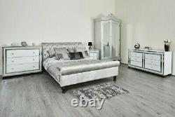 Mirror Furniture White Glass Mirrored Bedside Table TV Stand Bedroom Lounge