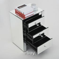 Mirror Glass Bedside Table Cabinet With 3 Drawer Bedroom Furniture Night Tables