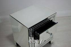 Mirrored 2 Drawer Side Table End Glass Bedside Locker Cabinet Silver Bedroom