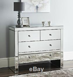 Mirrored 2 over 2 Chest of Drawers Storage Cabinet 4 Drawers Bedroom Sideboard