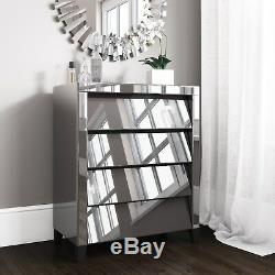 Mirrored 4 Chest of Drawers in Grey Bedroom Furniture Storage Unit